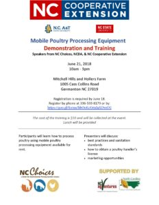 Cover photo for Mobile Poultry Processing Demo   June 21, 2018 10-3pm   Germanton, NC