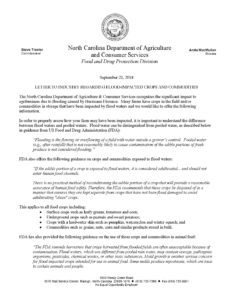 Letter to Industry from NCDA&CS regarding flooded crops.