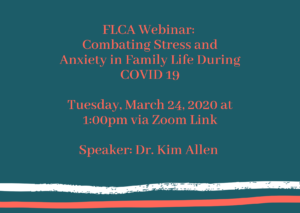 Family Life Coaching Association Webinar - Combating Stress and Anxiety in Family Life During COVID-19