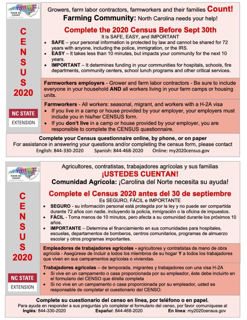 Census Deadline Announcement in English & Spanish